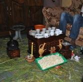 This is more or less what a traditional Ethiopian coffee ceremony looks like. They happen a lot. One of Asfegitch's older sons actually made the set you're looking at, excluding the porcelain cups. I can get you one for like 50 bucks if you want.