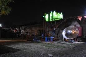 The workshop at night.